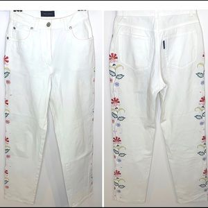 Piazza Sempione White Floral Embroidered Jeans